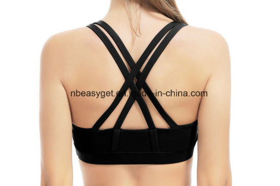 Women′s Support Double-T Back Wirefree Yoga Sports Bra ESG10684