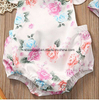 Baby Flower Print Buttons Ruffles Romper Bodysuit with Headband ESG1019