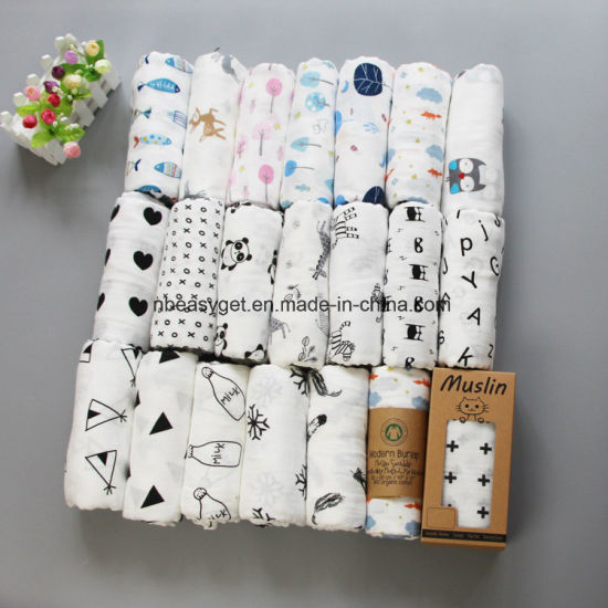 Baby cotton swaddling blanket shower gift breathable soft ESG10242