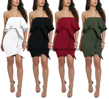 Women Sexy off Shoulder Split Slit Sleeve Chiffon Playsuit ESG10296