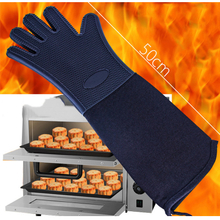 Extra Long Silicone Oven Mitts Heat Resistant Silicone Oven Gloves with Internal Cotton ESG11886