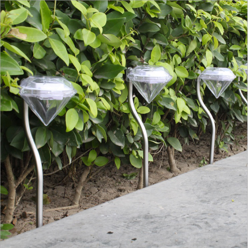 Solar Garden Lights Outdoor Color Changing Diamond LED Solar Landscape Pathway Lights Stainless Steel ESG11891
