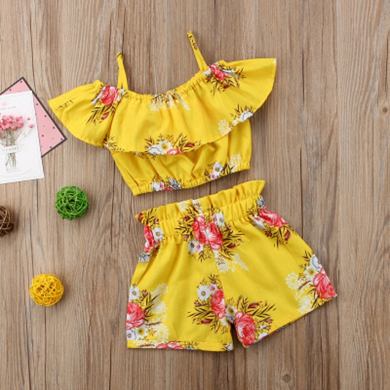 Toddler Baby Girls 2PCS Outfits off-Shoulder Tops + Floral Print Shorts Outfit Set ESG13398