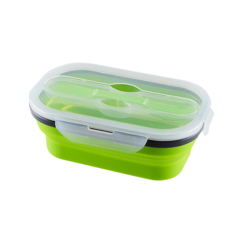 Collapsible Lunch Box Silicone Food Storage with Fork Spoon ESG11898