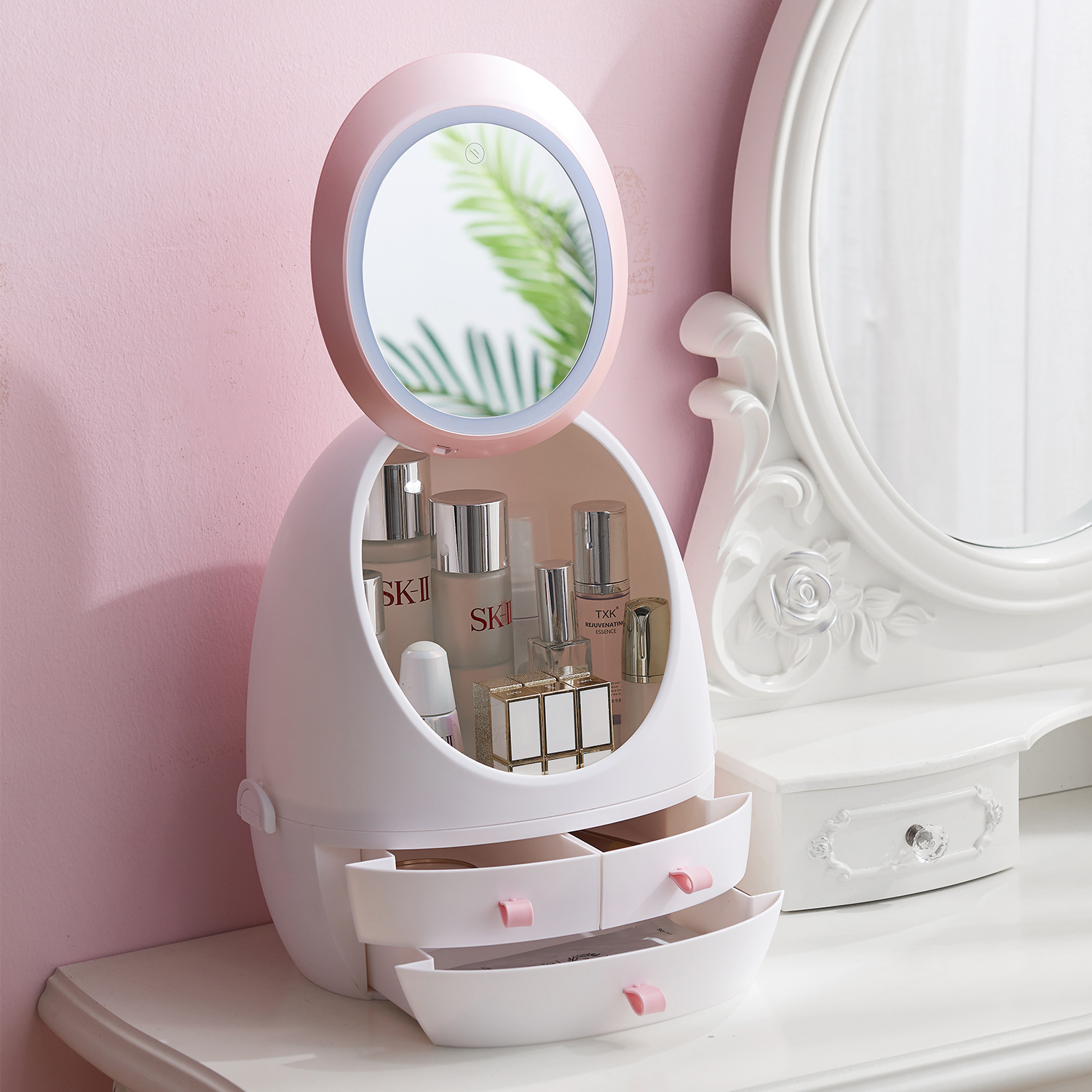 Cosmetic Storage Display with LED Lighted Mirror and 3drawers ESG12342