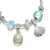 Sea Shell Charm Wrap Silver Bangle Bracelet - Fashion Jewelry Stainless Steel Bracelet for Women ESG13422