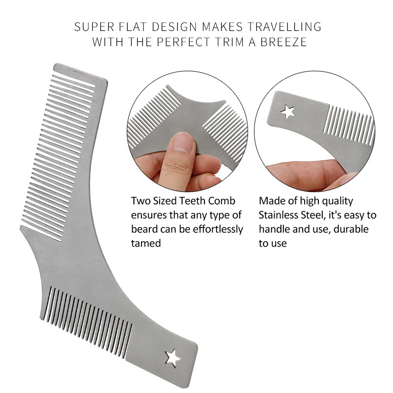 Stainless Steel Beard Shaping Tool Template Comb for Perfect Lines ESG12355