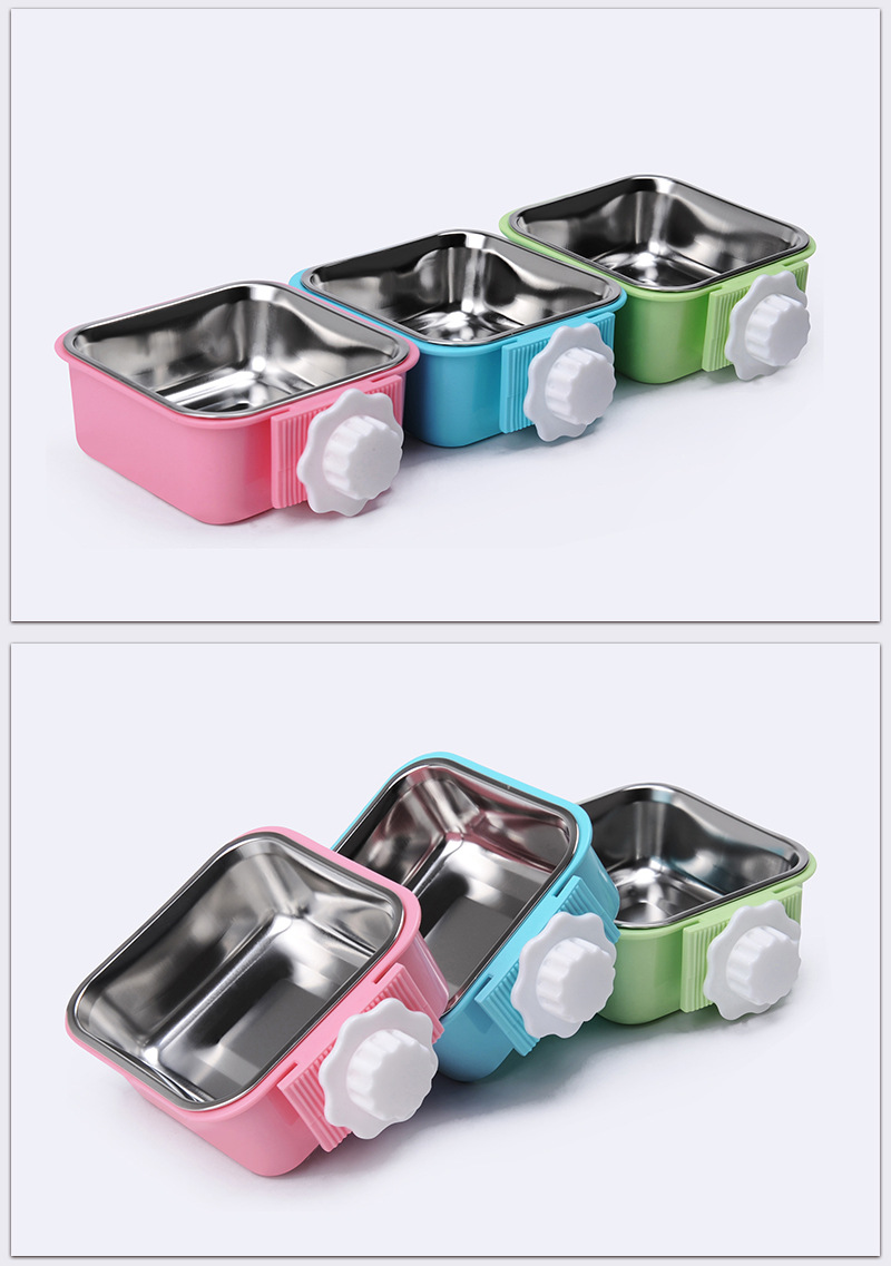 Pet Crate Bowl Stainless Steel Removable Cage Hanging Bowls with Bolt Holder for Pets ESG12373